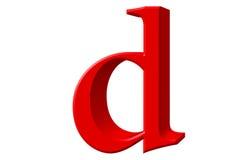 Kleine letter D, op wit wordt geïsoleerd, met het knippen van weg, 3D IL dat Stock Foto
