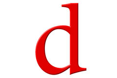Kleine letter D, op wit wordt geïsoleerd, met het knippen van weg, 3D IL dat Stock Foto's