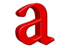 Kleine letter A, die op wit wordt geïsoleerd, met het knippen van weg, 3D IL Royalty-vrije Stock Fotografie