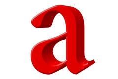 Kleine letter A, die op wit wordt geïsoleerd, met het knippen van weg, 3D IL Stock Fotografie