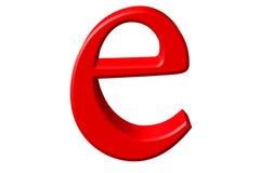 Kleine letter E, op wit wordt geïsoleerd, met het knippen van weg, 3D IL dat vector illustratie