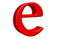 Kleine letter E, op wit wordt geïsoleerd, met het knippen van weg, 3D IL dat royalty-vrije illustratie