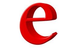 Kleine letter E, op wit wordt geïsoleerd, met het knippen van weg, 3D IL dat Royalty-vrije Stock Foto's