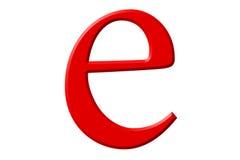 Kleine letter E, op wit wordt geïsoleerd, met het knippen van weg, 3D IL dat Stock Fotografie