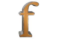 Kleine letter F, op wit wordt geïsoleerd, met het knippen van weg, 3D IL dat Stock Afbeelding