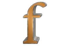 Kleine letter F, op wit wordt geïsoleerd, met het knippen van weg, 3D IL dat Stock Foto's