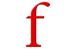 Kleine letter F, op wit wordt geïsoleerd, met het knippen van weg, 3D IL dat stock illustratie
