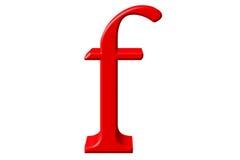 Kleine letter F, op wit wordt geïsoleerd, met het knippen van weg, 3D IL dat royalty-vrije illustratie