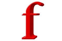 Kleine letter F, op wit wordt geïsoleerd, met het knippen van weg, 3D IL dat Royalty-vrije Stock Afbeelding