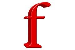 Kleine letter F, op wit wordt geïsoleerd, met het knippen van weg, 3D IL dat Royalty-vrije Stock Foto's