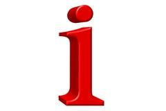 Kleine letter I, op wit wordt geïsoleerd, met het knippen van weg, 3D IL dat Stock Fotografie