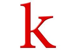 Kleine letter K, op wit wordt geïsoleerd, met het knippen van weg, 3D IL dat Royalty-vrije Stock Foto
