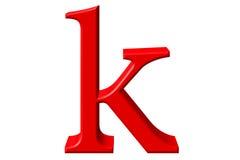 Kleine letter K, op wit wordt geïsoleerd, met het knippen van weg, 3D IL dat Stock Foto