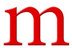 Kleine letter M, op wit wordt geïsoleerd, met het knippen van weg, 3D IL dat royalty-vrije illustratie