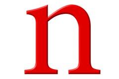Kleine letter N, op wit wordt geïsoleerd, met het knippen van weg, 3D IL dat stock illustratie