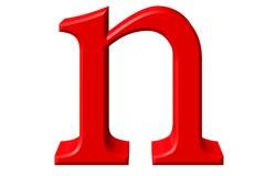 Kleine letter N, op wit wordt geïsoleerd, met het knippen van weg, 3D IL dat Stock Foto