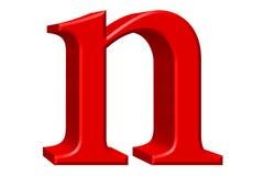 Kleine letter N, op wit wordt geïsoleerd, met het knippen van weg, 3D IL dat Royalty-vrije Stock Fotografie