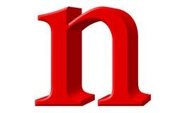 Kleine letter N, op wit wordt geïsoleerd, met het knippen van weg, 3D IL dat Royalty-vrije Stock Afbeelding
