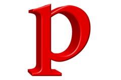 Kleine letter P, op wit wordt geïsoleerd, met het knippen van weg, 3D IL dat Stock Foto