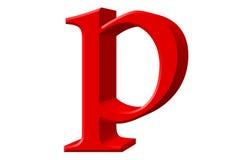 Kleine letter P, op wit wordt geïsoleerd, met het knippen van weg, 3D IL dat stock illustratie