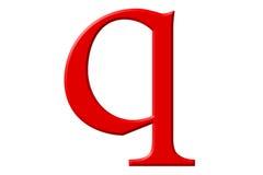 Kleine letter Q, op wit wordt geïsoleerd, met het knippen van weg, 3D IL dat Stock Foto's