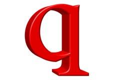 Kleine letter Q, op wit wordt geïsoleerd, met het knippen van weg, 3D IL dat Royalty-vrije Stock Foto's