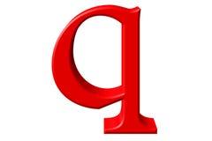 Kleine letter Q, op wit wordt geïsoleerd, met het knippen van weg, 3D IL dat royalty-vrije illustratie