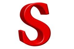 Kleine letter S, op wit wordt geïsoleerd, met het knippen van weg, 3D IL dat vector illustratie