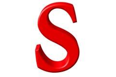 Kleine letter S, op wit wordt geïsoleerd, met het knippen van weg, 3D IL dat stock illustratie