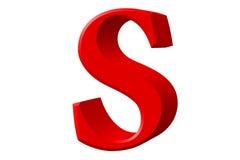 Kleine letter S, op wit wordt geïsoleerd, met het knippen van weg, 3D IL dat Stock Afbeeldingen
