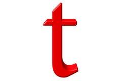 Kleine letter T, op wit wordt geïsoleerd, met het knippen van weg, 3D IL dat Stock Afbeeldingen