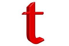 Kleine letter T, op wit wordt geïsoleerd, met het knippen van weg, 3D IL dat Royalty-vrije Stock Afbeelding