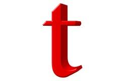 Kleine letter T, op wit wordt geïsoleerd, met het knippen van weg, 3D IL dat Royalty-vrije Stock Foto