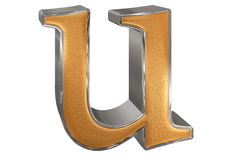 Kleine letter U, op wit wordt geïsoleerd, met het knippen van weg, 3D IL dat Stock Foto's