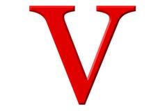 Kleine letter V, op wit wordt geïsoleerd, met het knippen van weg, 3D IL dat stock illustratie