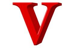 Kleine letter V, op wit wordt geïsoleerd, met het knippen van weg, 3D IL dat Stock Foto