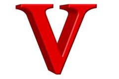 Kleine letter V, op wit wordt geïsoleerd, met het knippen van weg, 3D IL dat vector illustratie