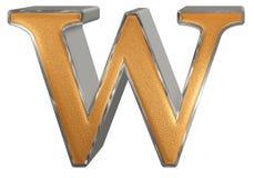 Kleine letter W, op wit wordt geïsoleerd, met het knippen van weg, 3D IL dat Royalty-vrije Stock Foto's