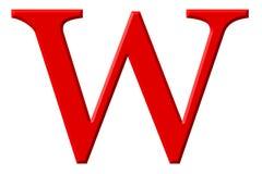Kleine letter W, op wit wordt geïsoleerd, met het knippen van weg, 3D IL dat royalty-vrije illustratie