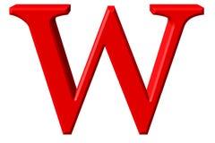 Kleine letter W, op wit wordt geïsoleerd, met het knippen van weg, 3D IL dat Royalty-vrije Stock Afbeelding
