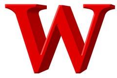 Kleine letter W, op wit wordt geïsoleerd, met het knippen van weg, 3D IL dat Royalty-vrije Stock Fotografie