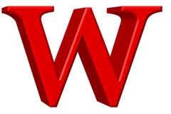 Kleine letter W, op wit wordt geïsoleerd, met het knippen van weg, 3D IL dat Stock Afbeeldingen