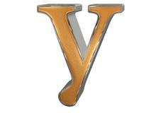 Kleine letter Y, die op wit wordt geïsoleerd, met het knippen van weg, 3D IL Stock Afbeelding