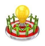 kleine Leute 3d um eine Lampe. Lizenzfreies Stockfoto