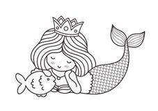 Kleine liegende träumerische Prinzessinmeerjungfrau mit Fischen vektor abbildung