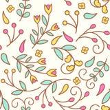 Kleine Linie Blumen Nahtloses Muster mit bunten Florenelementen Lizenzfreie Stockfotografie