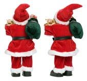 Kleine lustige Santa Claus-Puppe von zwei Aspekten unterstützen Ansicht Stockbilder