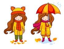 Kleine Mädchen in den Mänteln und in den großen gestrickten Schals Autumn Fashion lizenzfreie abbildung