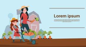 Kleine Mädchen-Landwirt-Tochter-Griff-Laufkatze mit Gemüse-Ernte stock abbildung