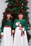 Kleine Mädchen mit Weihnachtsbaum Stockbild